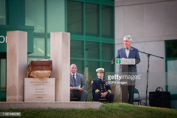 Bloomington mayor John Hamilton speaks during the 9/11 remembrance event hosted by Ivy Tech Community College's Bloomington campus in coordination...