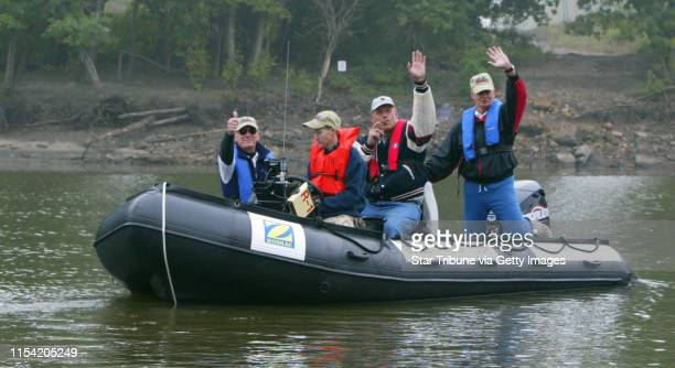 "Bloomingtoon, Mn., Sun., Sept. 29, 2002--Gov. Jesse Ventura joins kickoff of the ""Bulletproof Tour"", a trip down the Mississippi River in Zodiac..."