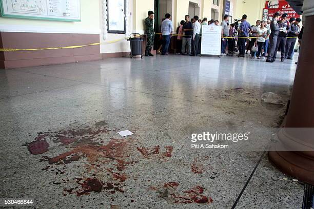 Blooodstain near the explosion area at Hua Lamphong train station in Bangkok A small explosion at Bangkok's Hua Lamphong train station injured two...
