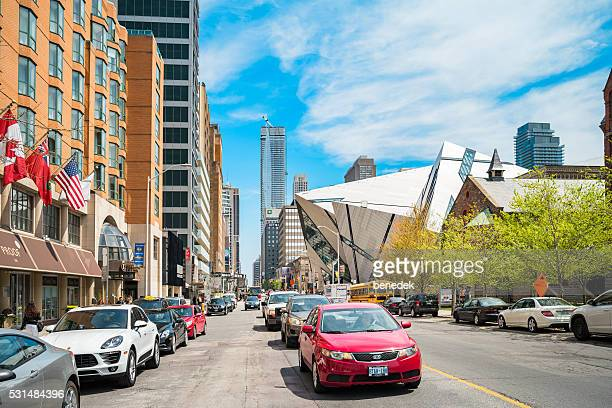 Bloor Street and Royal Ontario Museum in Toronto Canada