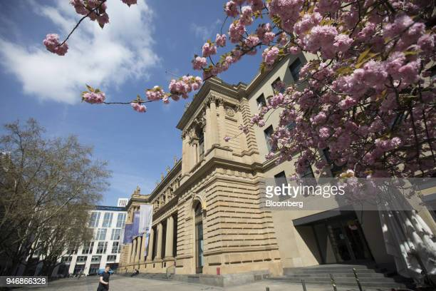 Blossom blooms on a tree outside the Frankfurt Stock Exchange operated by Deutsche Boerse AG in Frankfurt Germany on Monday April 16 2018 Bonds...