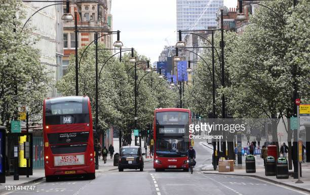 Blossom on Oxford Street outside Selfridges ahead of their reopening to shoppers on April 08, 2021 in London, England. All non-essential retail will...