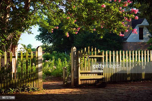 blossoming tree with white picket fence outside of house - crepe myrtle tree stock pictures, royalty-free photos & images