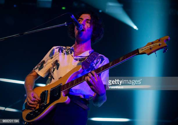 Blossoms bass player Charlie Salt performs with the band at the Plaza on May 4 2018 in Stockport England