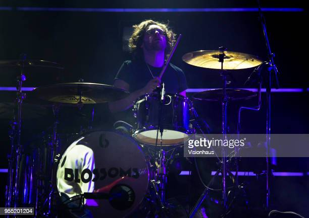 Blossoms drummer Joe Donovan performs with the band at the Plaza on May 4 2018 in Stockport England