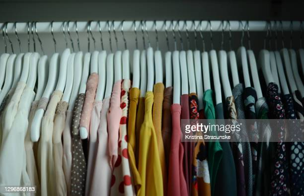 blouses hanging on coathangers in a row arranged by color - kristina strasunske stock pictures, royalty-free photos & images