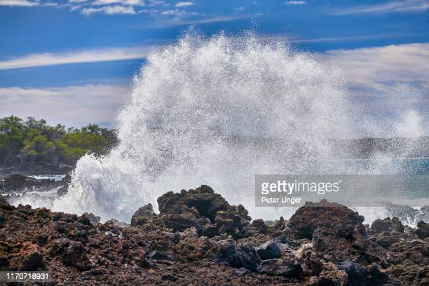 blow hole at lava fields_kings trail,maui,hawaii,usa - volcanic rock stock pictures, royalty-free photos & images