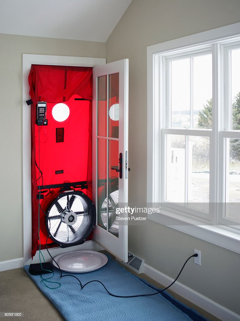 blower door test with fan stock photo getty images. Black Bedroom Furniture Sets. Home Design Ideas