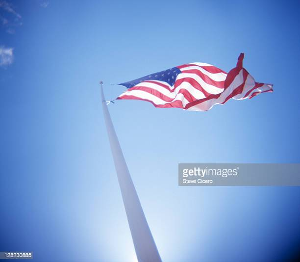 Blowing American flag from underneath