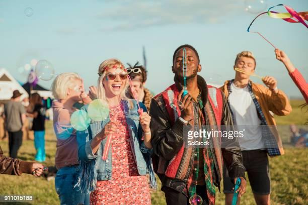 Seifenblasen auf einem Festival