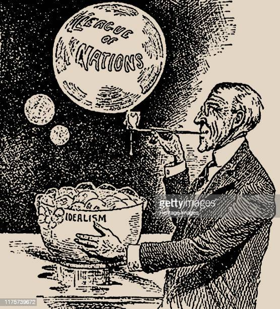 Blowing Bubbles. Woodrow Wilson and the League of Nations , 1919. Private Collection. Artist Anonymous.