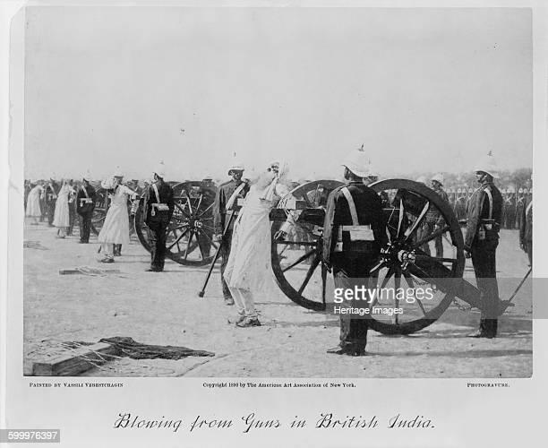 Blowing from guns in British India c 1890 Private Collection Artist Vereshchagin Vasili Vasilyevich