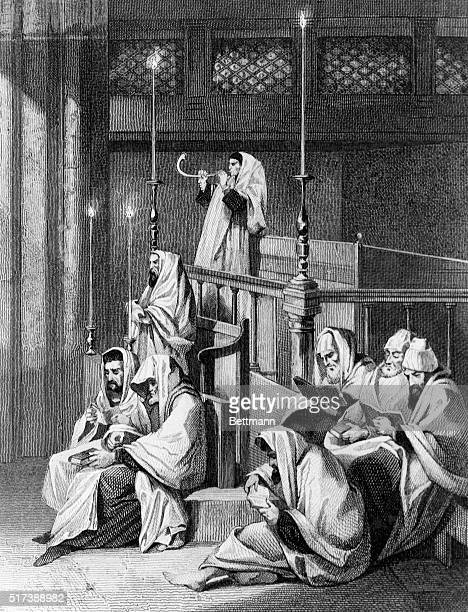Blowing the shofar on the first of the year Engraving 1884