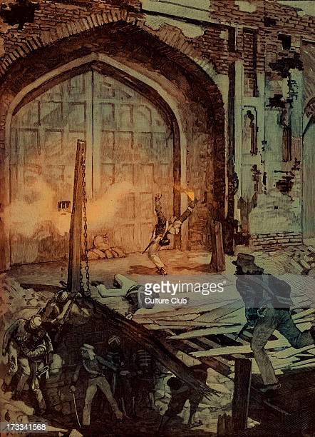 Blowing up the Kashmiri Gate at Delhi India 1857 Gate next gained national attention during the Mutiny of 1857 Indian soldiers fired volleys of...
