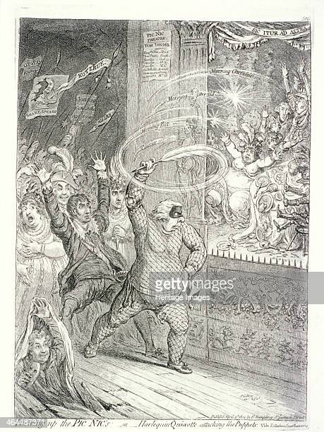 'Blowing up the Pic Nic's or Harlequin Quixotte attacking the puppets Vide Tottenham Street Pantomime' 1802 Richard Sheridan leading the forces of...