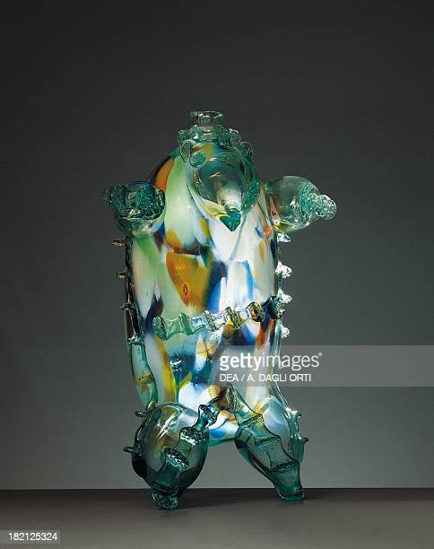 Blown glass liqueur decanter in the shape of a bear Murano Italy 20th century