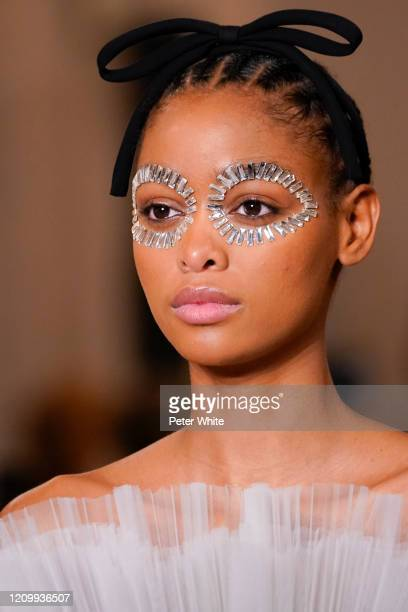 Blésnya Minher walks the runway during the Giambattista Valli as part of the Paris Fashion Week Womenswear Fall/Winter 2020/2021 on March 02, 2020 in...
