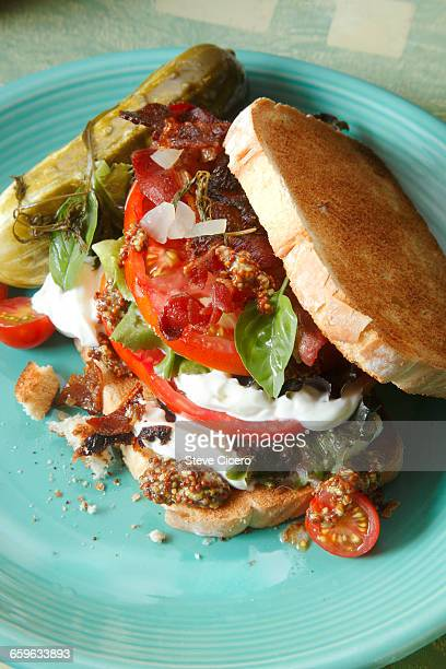 blt sandwich with dill pickle
