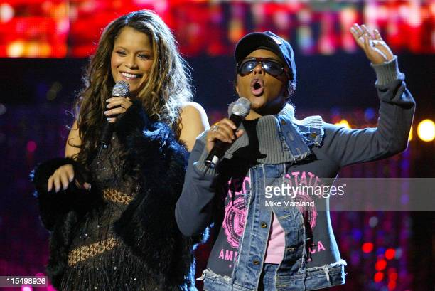 Blu Cantrell and Lil' Kim during 2003 MOBO Awards Rehearsals at Royal Albert Hall in London United Kingdom