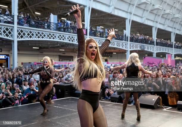 Blu Hydrangae Davina De Campo and Baga Chipz aka The Frock Destroyers perform on stage at RuPaul's DragCon UK presented by World Of Wonder at Olympia...