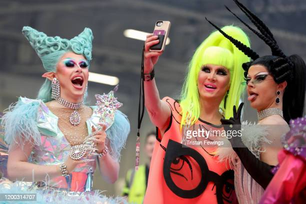 Blu Hydrangea, Charlie Hides and Gothy Kendoll attend RuPaul's DragCon UK presented by World Of Wonder at Olympia London on January 18, 2020 in...