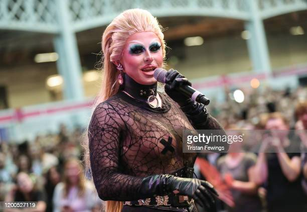 Blu Hydrangea performs on stage with The Frock Destroyers at RuPaul's DragCon UK presented by World Of Wonder at Olympia London on January 19, 2020...