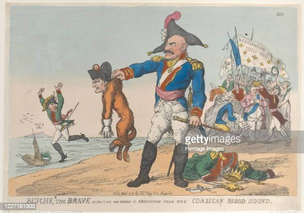 Blucher the Brave Extracting the Groan of Abdication from the Corsican Blood Hound, April 9, 1814. Artist Thomas Rowlandson.