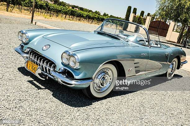 blue 1958 corvette - chevrolet corvette stock pictures, royalty-free photos & images