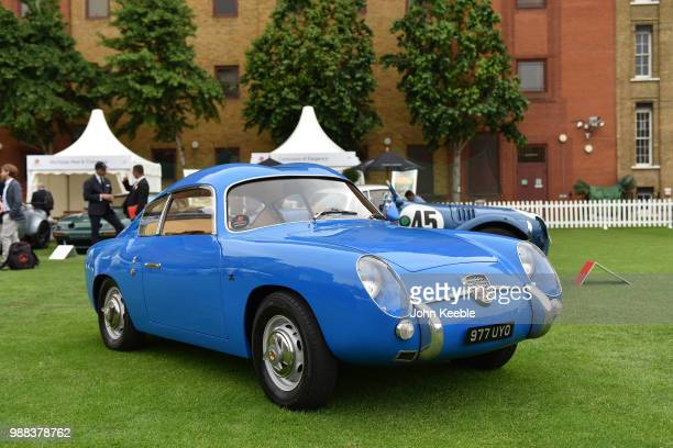 A blue 1959 Fiat Abarth 750 GT Double Bubble Zagato on display during the London Concours 2018 at Honourable Artillery Company on June 7 2018 in...