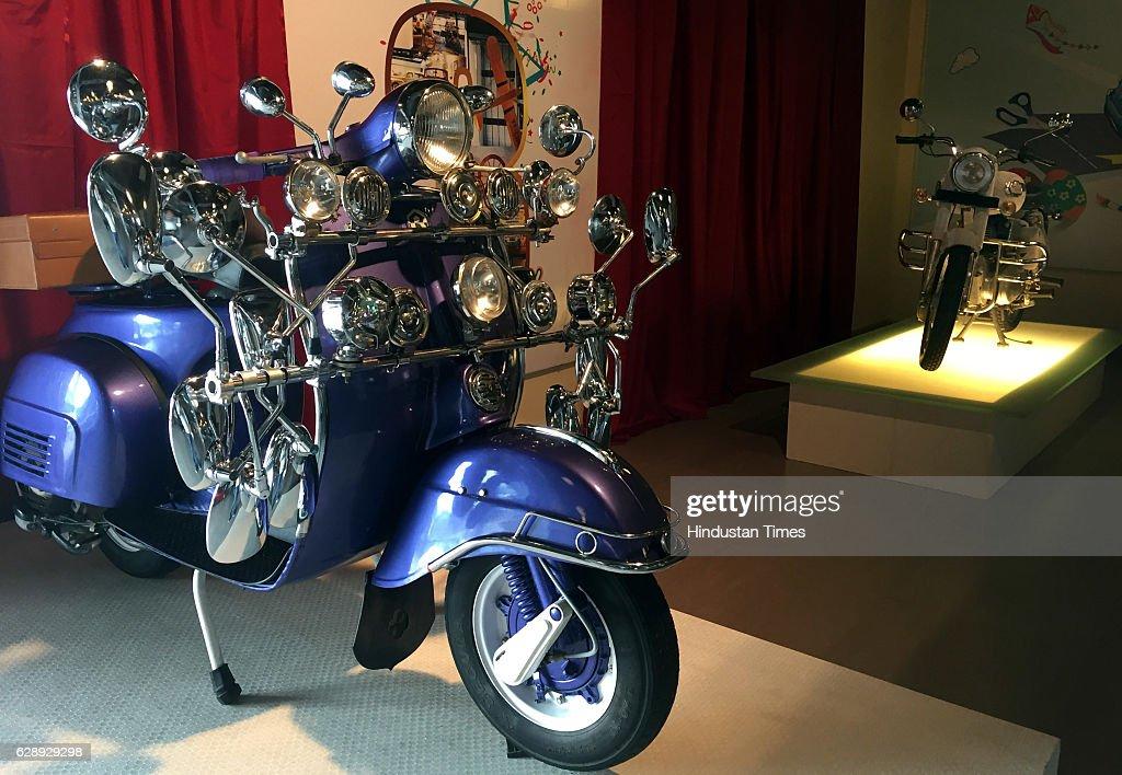 Blue 1998 model Bajaj Chetak scooter displayed in Heritage Transport
