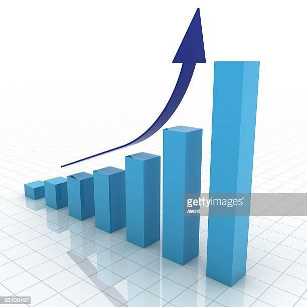 blaue 3d business-diagramm zeigt wachstum - balkendiagramm stock-fotos und bilder