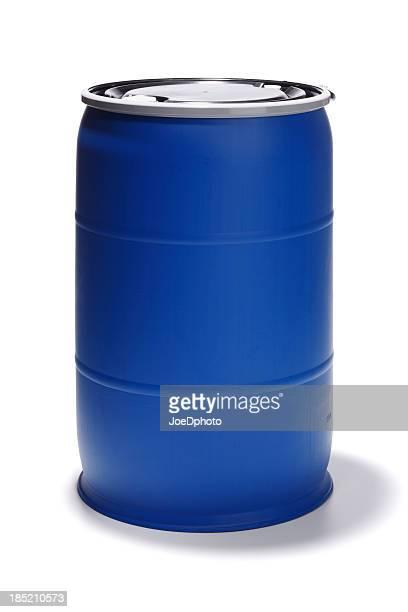 Blue 55 Gallon Barrel on White