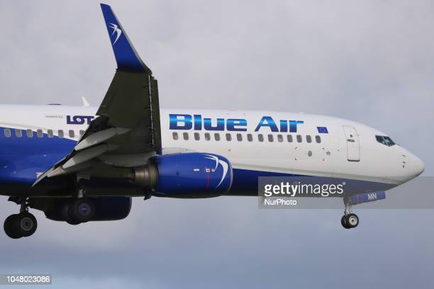 Blue Air Boeing 737-800 with registration YR-BMN first flown in 2011 landing in Amsterdam Schiphol International Airport in The Netherlands. Blue Air...