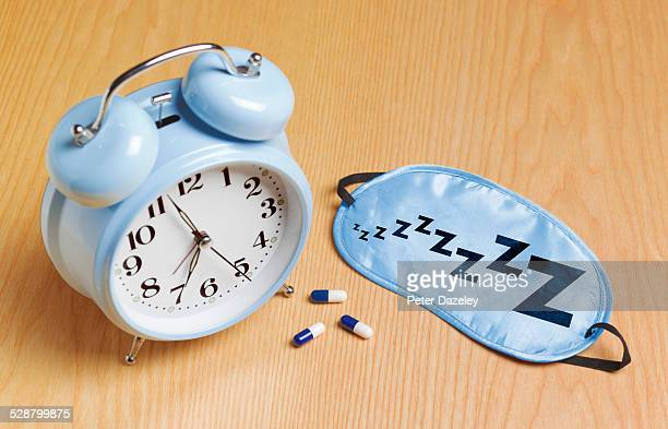 Blue alarm mask and sleeping pills