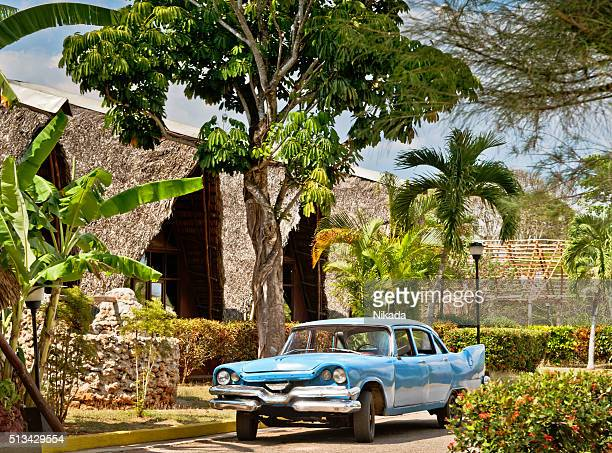 blue American car in Cuba