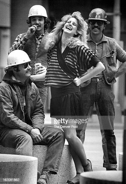 MAR 29 1982 APR 1982 Blue and black striped cotton top is by Nancy Heller and culotte skirt by Cathy Hardwick Hardhats from left are Bayard Payne Tom...