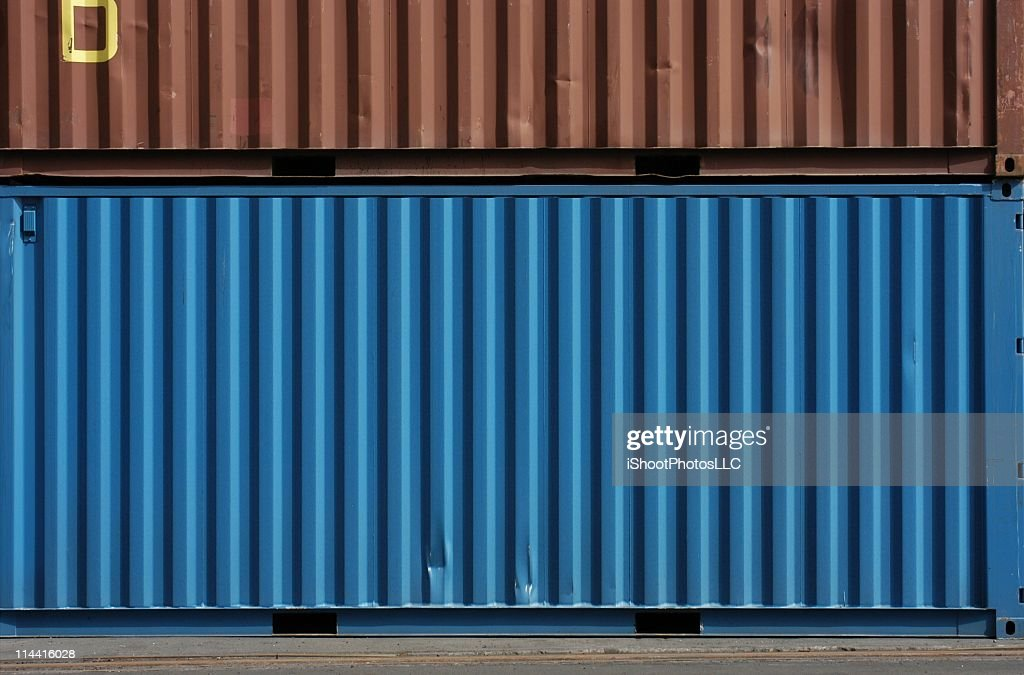Blue And Brown Cargo Storage Containers Stock Photo Getty Images