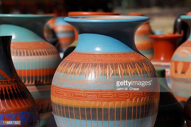 blue and brown patterned navaho pottery - southwest usa stock pictures, royalty-free photos & images
