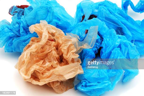 Blue and brown plastic grocery bags.