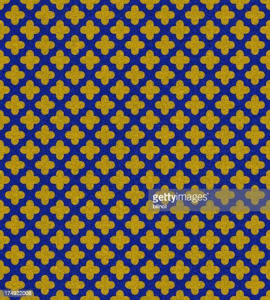 Cruz azul y oro patrón en glitter