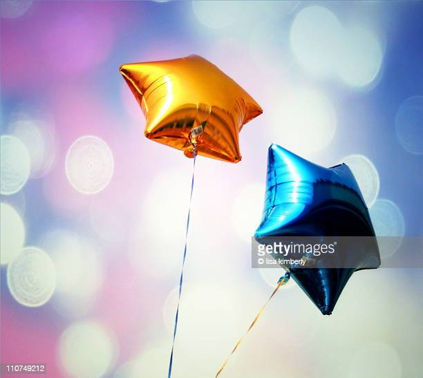 Blue and Gold Star-Shaped Balloons
