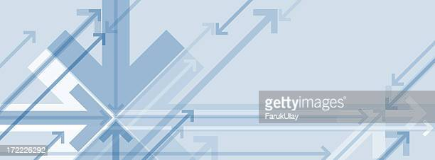 Blue and gray abstract background with arrows