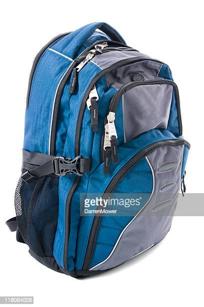 blue and gray backpack isolated on white backdrop - rucksack stock pictures, royalty-free photos & images