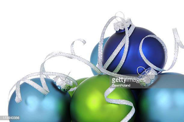 Blue and green baubles with silver ribbon