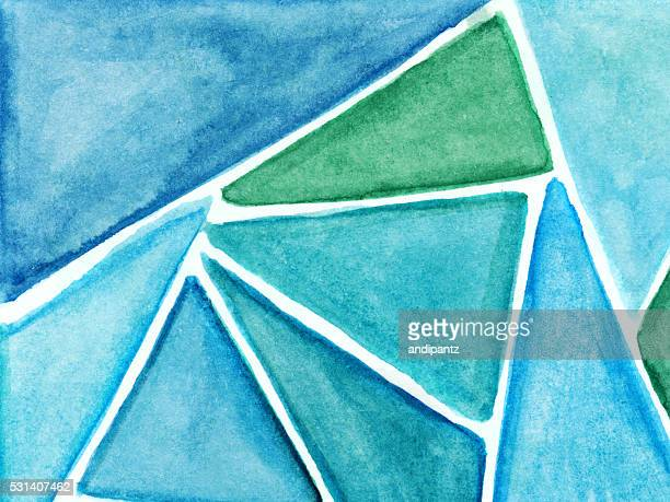Blue and green hues of hand painted triangle shapes