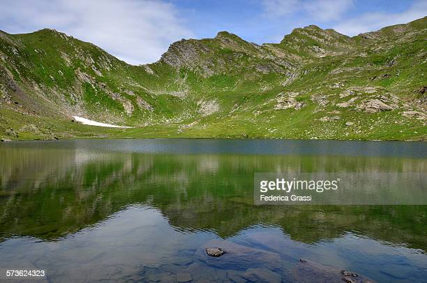 Blue and Green Reflections in Alpine Lake