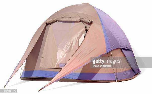 A blue and grey two person dome tent