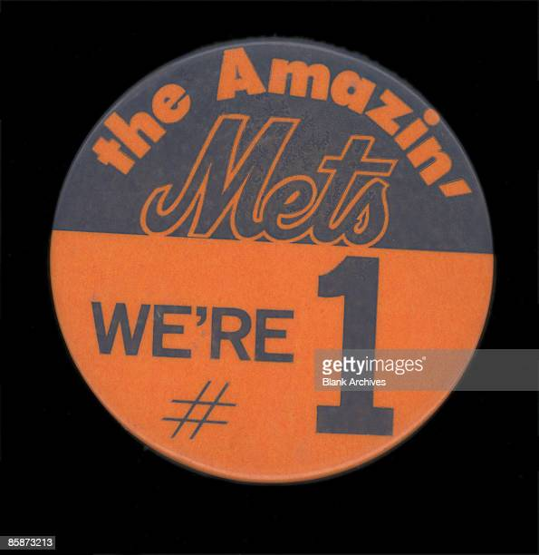 Blue and orange button celebrates the New York Mets baseball team 'the Amazin' Mets' and their World Series victory in the 1969 season