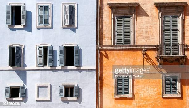 blue and orange row houses, campo dei fiori, rome, italy - italiano foto e immagini stock