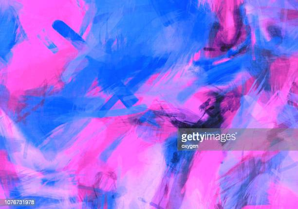 blue and pink abstract painted watercolor illustration - seres vivos fotografías e imágenes de stock